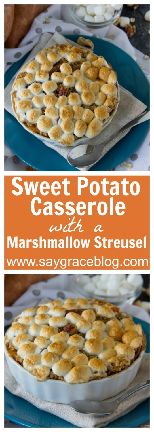 Sweet Potato Casserole with a Marshmallow Streusel