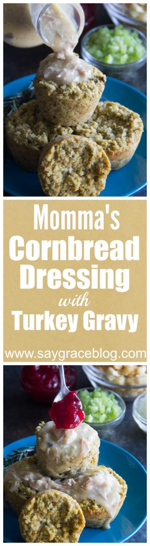 Momma's Cornbread Dressing with Turkey Gravy