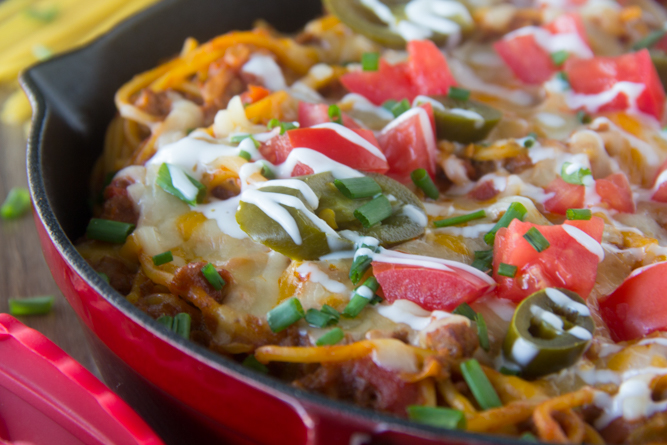 One Pot Taco Spaghetti