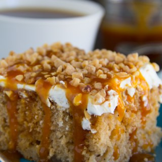 Salted Caramel Apple Poke Cake
