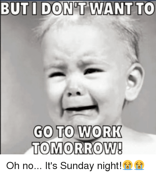 but i dont want to go to work tomorrow sunday night meme