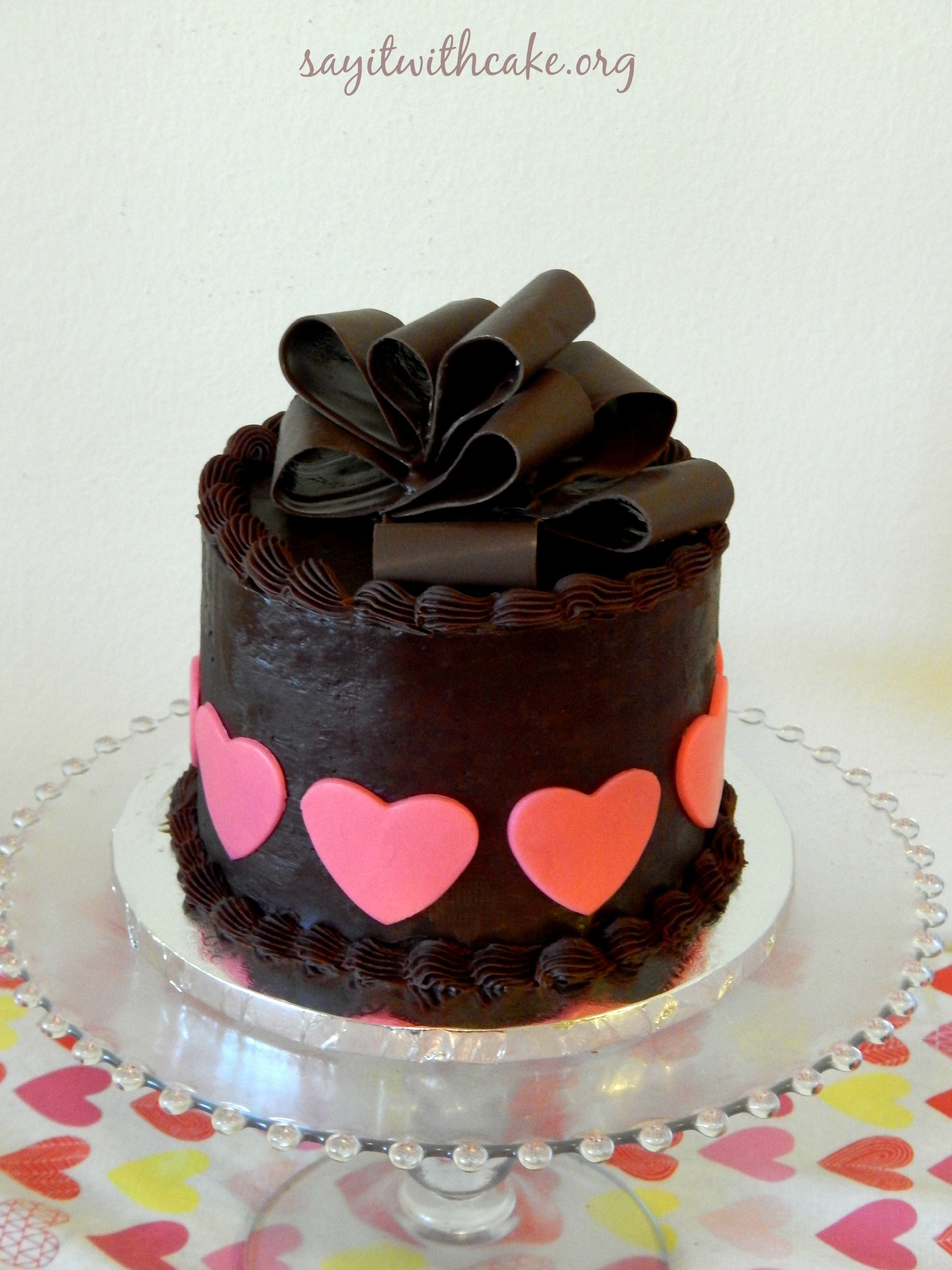 valentine's day chocolate cake with chocolate bow   say it with cake