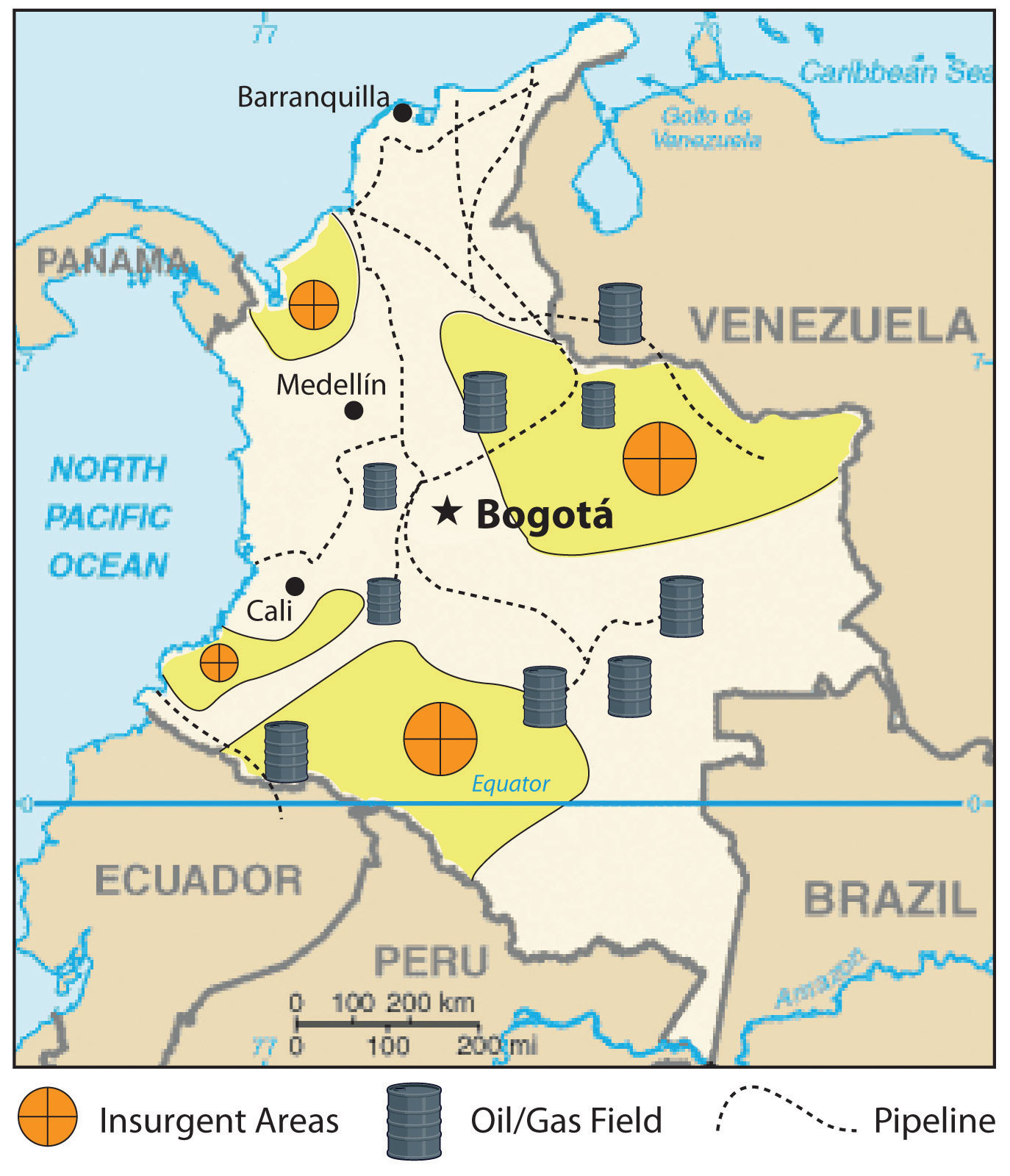 Colombia Oil Map