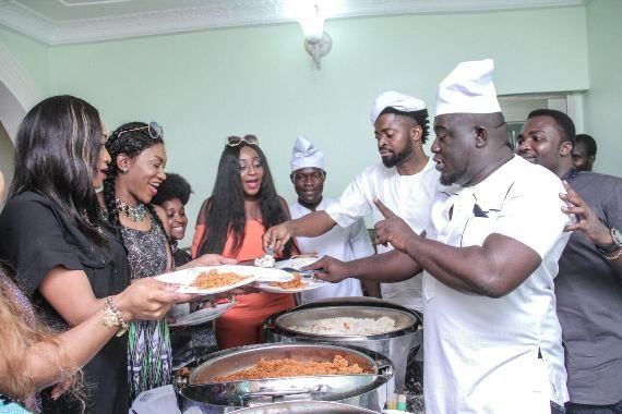 Basketmouth & Soso Soberekon serve food at party in Warri