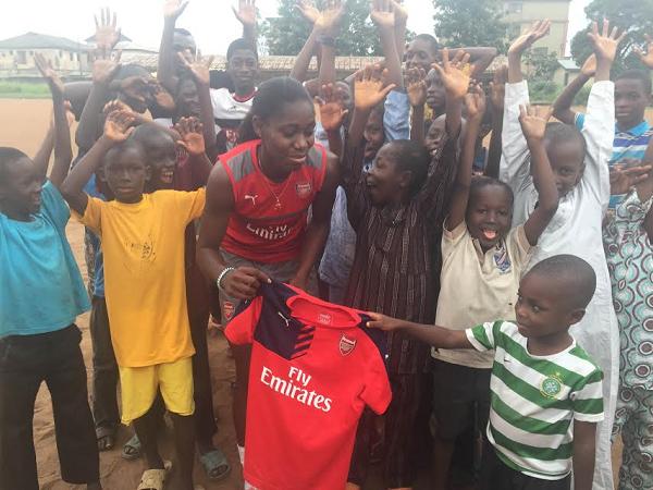 Super Falcons star Oshoala Donates Football Kits to Grassroot Team