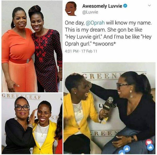 Nigerian Author Luvvie meets Oprah Winfrey 5 Years after tweeting her Dreams