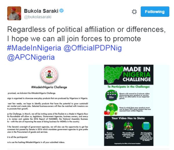 Bukola Saraki Launches #MadeInNigeriaChallenge, How to Participate