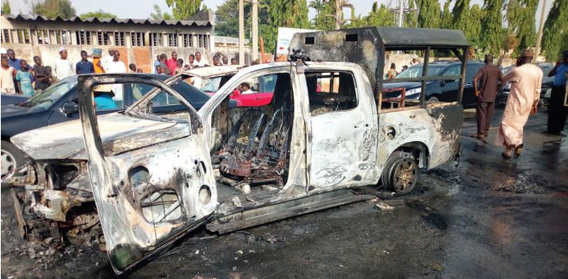 Kaduna Car Dealers Set Customs Vehicle Ablaze Over Import Duty