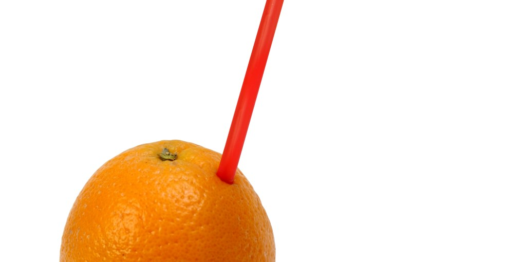Orange with Straw
