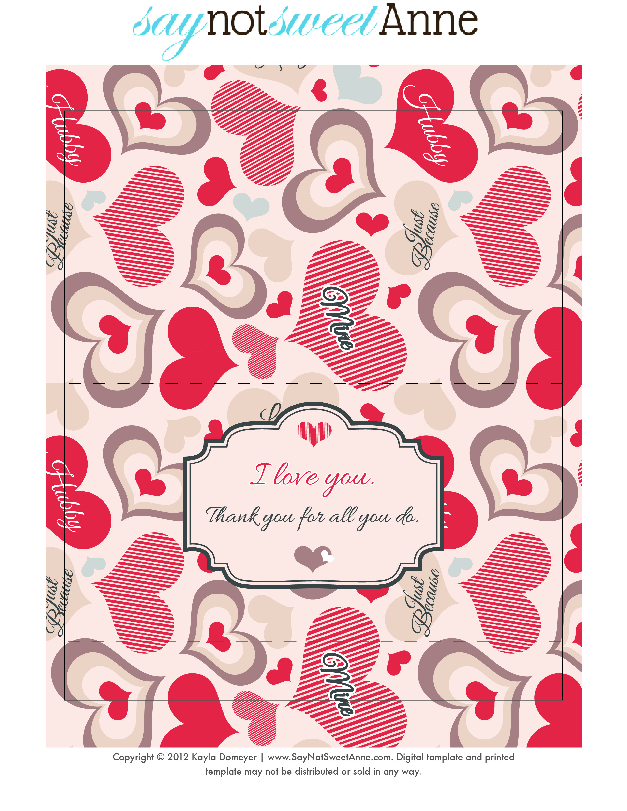 Just Because Candy Free Printable