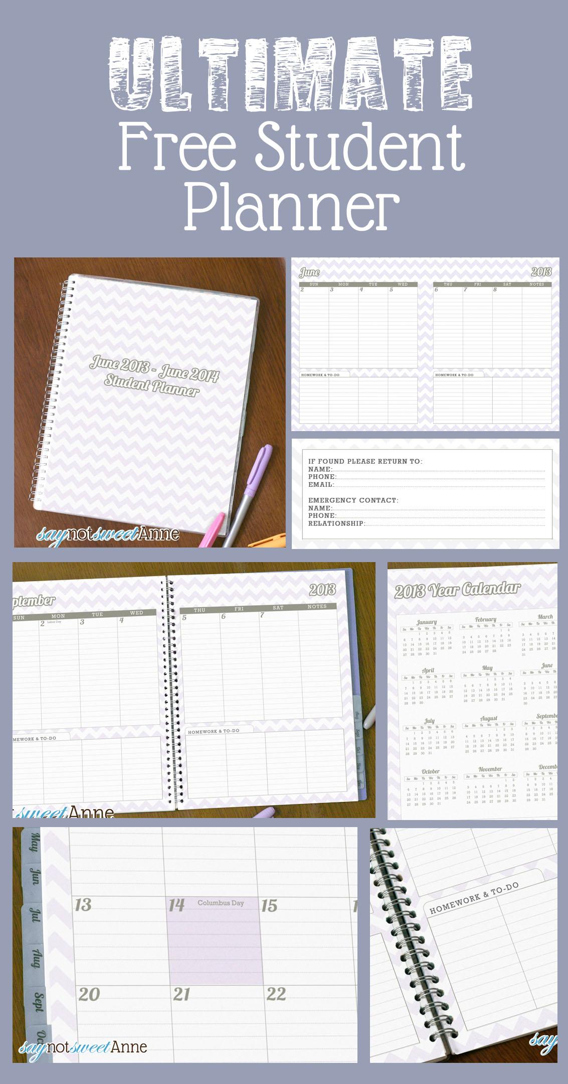 June To June Student Planner School Year