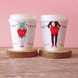 Je T'aime Coffee Cup Wrappers by Eat Drink Chic