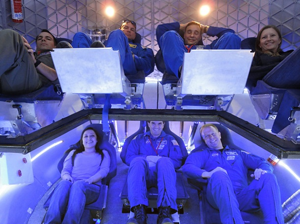 Test crew seated in Dragon Spacecraft