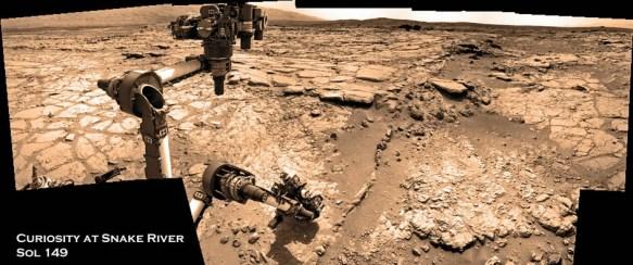 Curiosity Rover at Snake River (Credit: NASA/JPL/Caltech/ Mark Di Lorenzo and Ken Kremer.com)