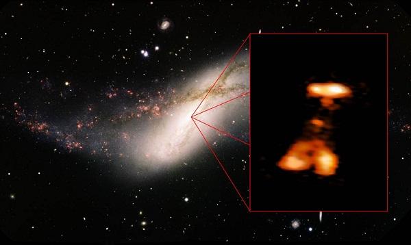Bright flare-ups in the galaxy NGC 660.(Credit: Minchin et al., NRAO/AUI/NSF (HSA); Travis Rector, Gemini Observatory, AURA (optical))