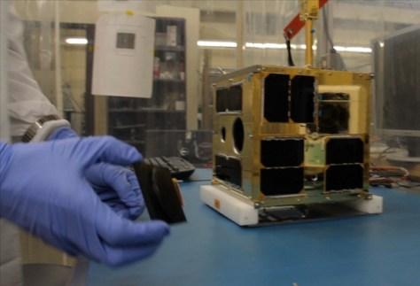 First BRITE satellite at UTIAS-SFL (Credit: University of Toronto Institute for Aerospace Studies)