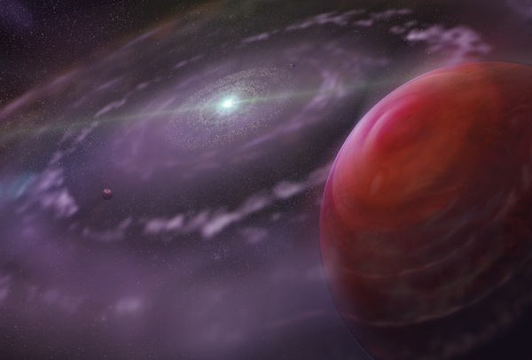 Artist depiction of the planetary system of HR 8799 with HR 8799c and disk of gas and dust (Credit: Dunlap Institute for Astronomy & Astrophysics; Mediafarm)