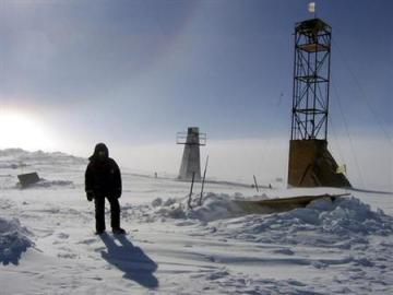 A man stands near drilling apparatus at the Vostock research camp in Antarctica (Credit: Reuters/Alexey Ekaikin/Handout)
