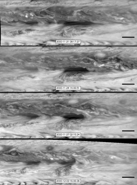 Series of images from NASA's Cassini spacecraft showing hot spots (Credit: NASA/JPL-Caltech/SSI/GSFC)