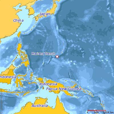 Location of Mariana Trench (Credit: Wikimedia creative commons/ Dcfleck)