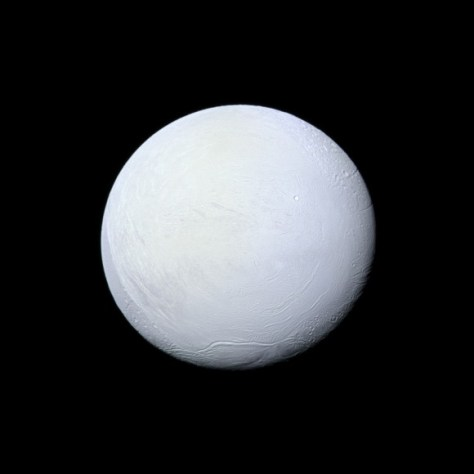 "Enceladus: a highly-reflective and icy ""snowball in space"" (Credit: NASA/JPL-Caltech/Space Science Institute)"