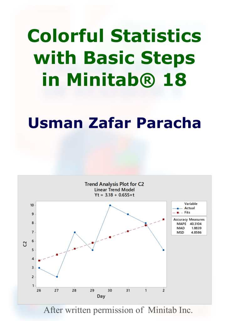 """Colorful Statistics with Basic Steps in Minitab® 18""- Title page of the ebook"