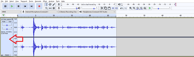 Figure 2: Selecting the entire audio in Audacity