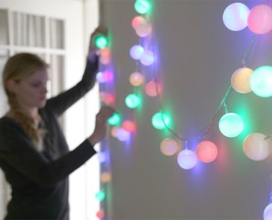 DIY ping pong ball cafe lights | 10 Last Minute DIY Christmas Decorations | Expressing Life