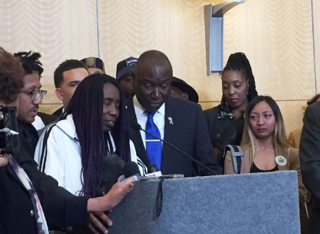 Sequita Thompson with Attorney Ben Crump at a Press Conference March 26, 2018 Sacramento City Hall. Grandmother of Stephon Clark, the unarmed Black man who was shot and killed by Sacramento PD.