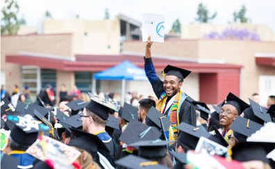 San Bernardino Valley College graduates prepare to participate in the college's 91st Commencement procession on May 25, 2018.