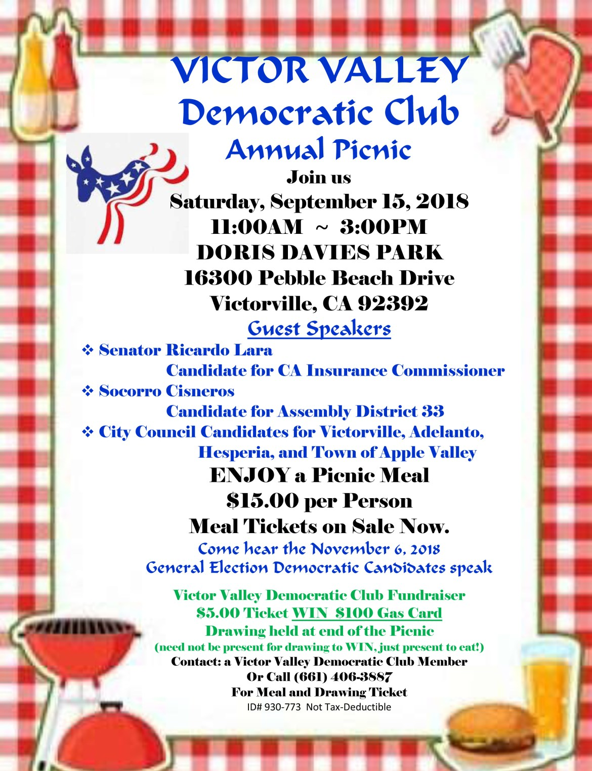 Picnic 9-15-18 VICTOR VALLEY DEM CLUB