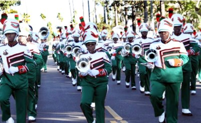 More than 200 FAMU band members performed outside First AME Church – L.A. on Dec. 30. Clayton Everett photo