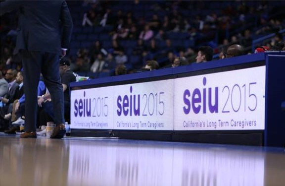 SEIU Local 2015 logo on courtside banner (Photos courtesy of Agua Caliente Clippers)