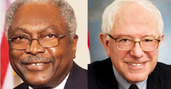 James Clyburn and Bernie Sanders