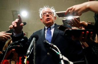 Sen. Bernie Sanders, I-Vt., speaks to reporters after a classified members-only briefing on Iran, Tuesday, May 21, 2019, on Capitol Hill in Washington. (AP Photo/Patrick Semansky)