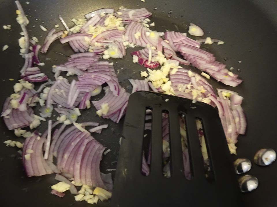 Sauteeing the onion and garlic