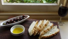Gluten Free Baguette, local Alloway Olive Oil and my marinated olives.
