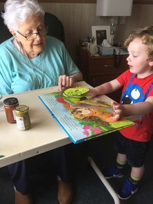 Reading books with Great Nana-r