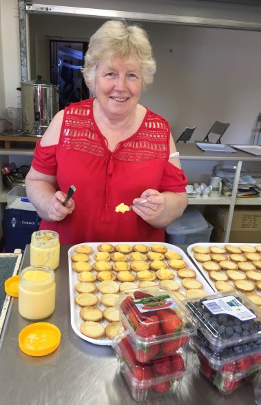 Sonnie hard at work filling the little tarts.