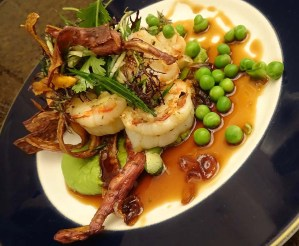 Garlic Prawns, Pea & Wasabi Puree, Pickled Ginger Salad, Sweet Potato Crisps and a Ginger and Soy Jus...