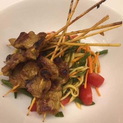 Muu Ping with Som Tam (Pork on Sticks with Green Mango Salad)