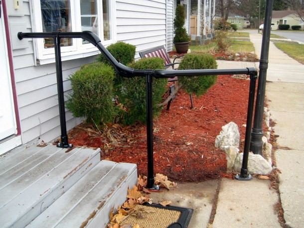 5 Diy Metal Stair Railing Examples Simplified Building   Exterior Metal Handrails For Steps   Deck Railing   Outdoor Stair   Railing Systems   Wrought Iron Railings   Concrete Steps