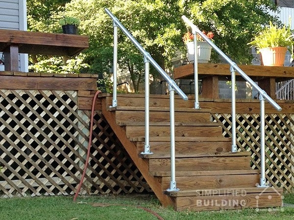 Simple Sturdy Exterior Stair Railing Simplified Building   Premade Outdoor Stair Railing   Wood   Metal   Concrete Steps   Rail Kit   Handrail Kits