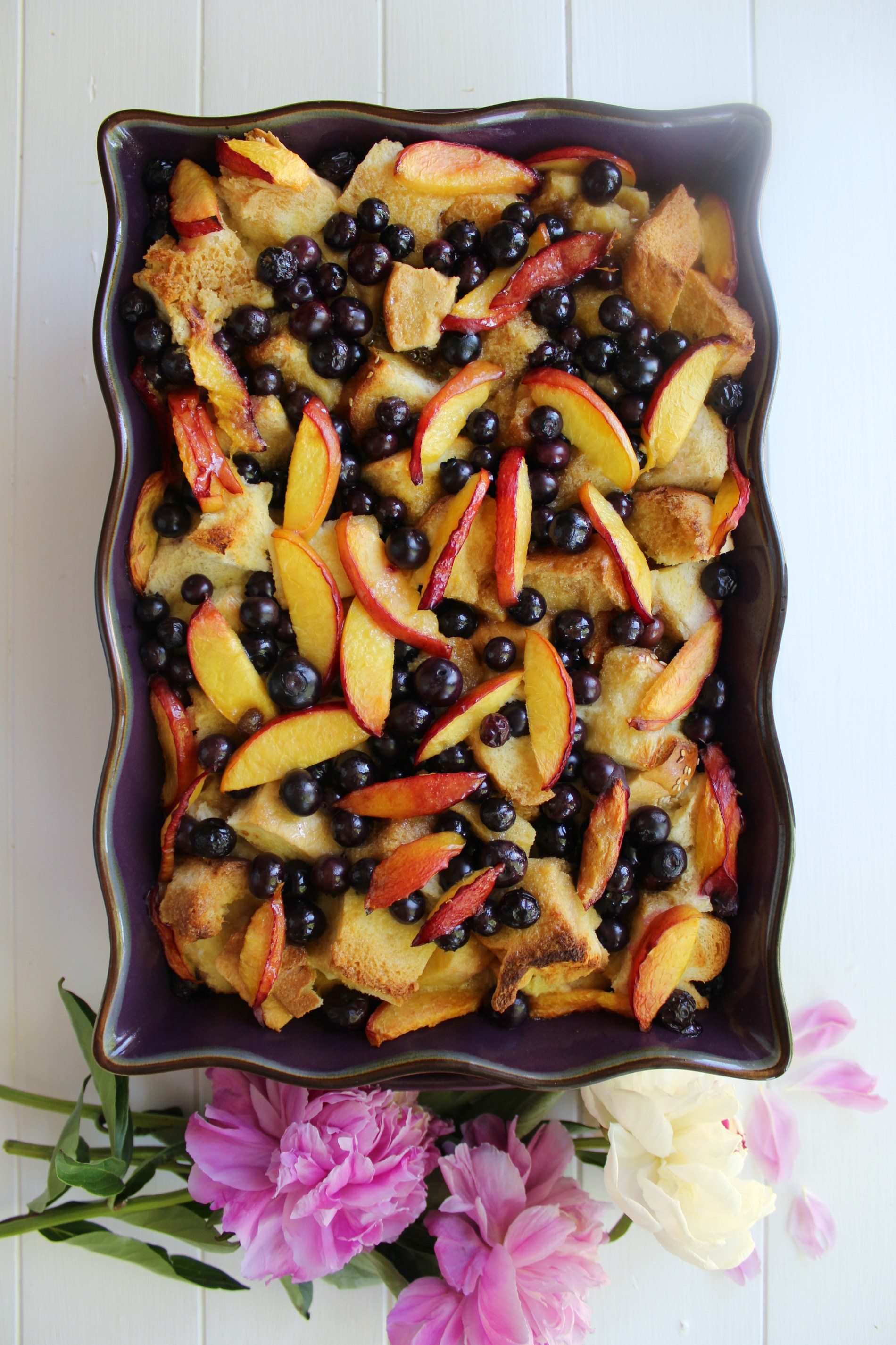 Blueberry Nectarine French Toast Casserole