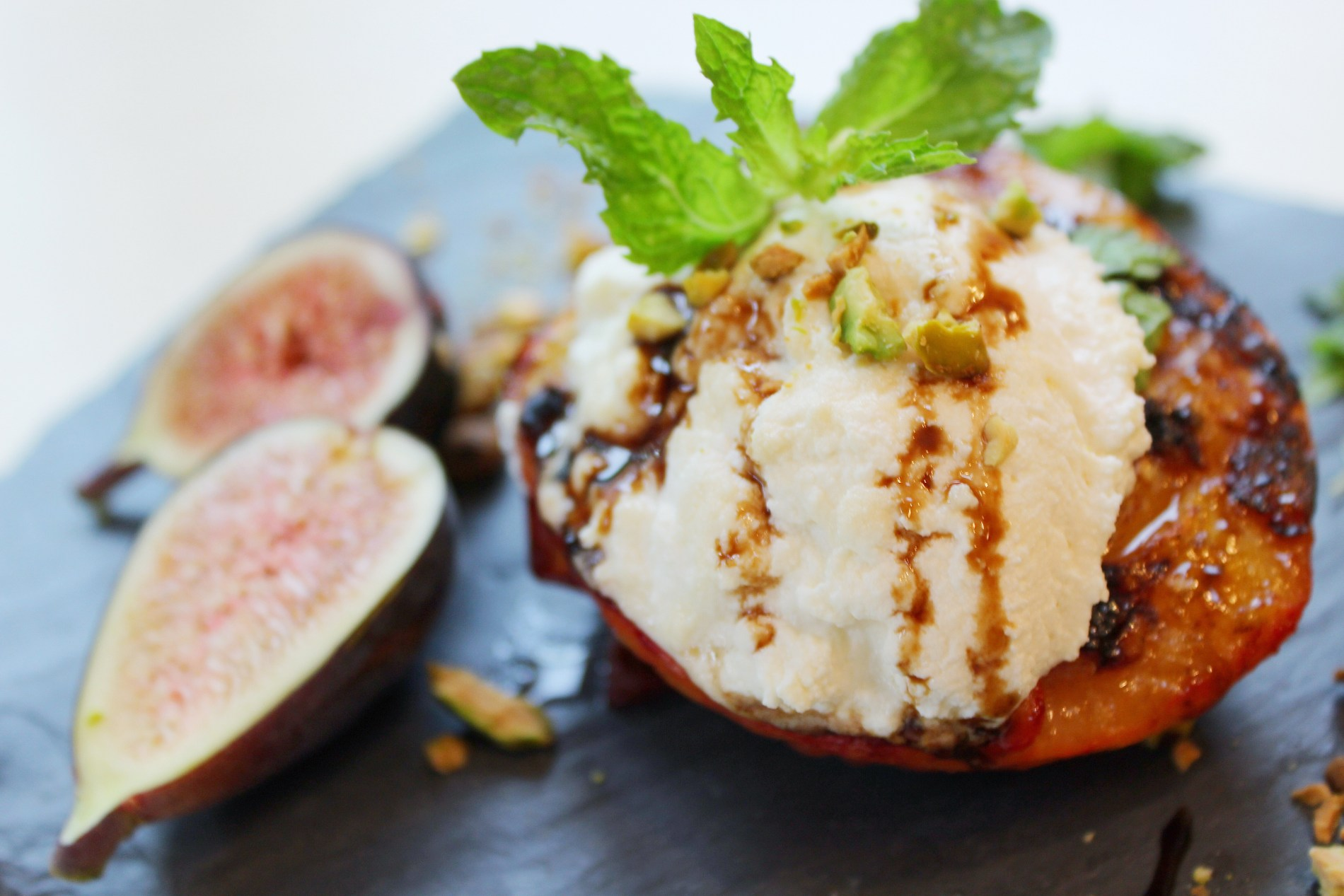 Grilled Peaches with Ricotta, Figs & Mint