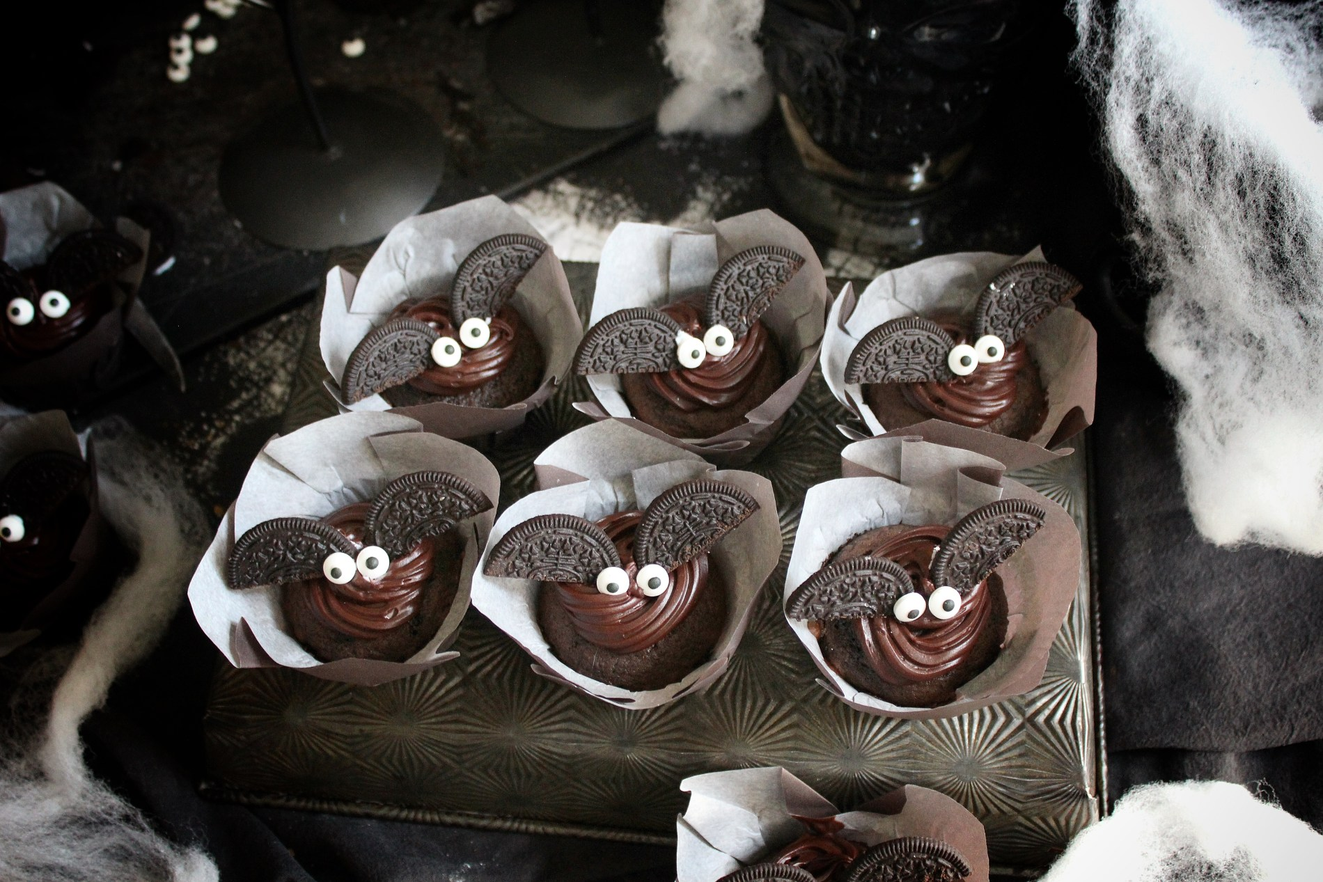 Dark Chocolate Bat Cupcakes