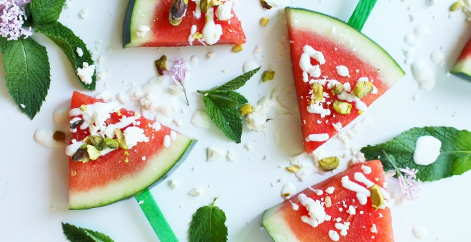 Watermelon Pops with Yogourt, Feta and Pistachios