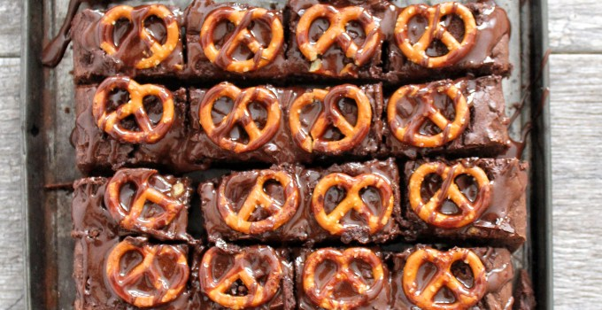 Triple Chocolate Chunk Pretzel Brownies