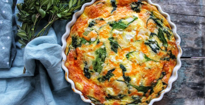 Spinach, Cheddar and Feta Crustless Quiche