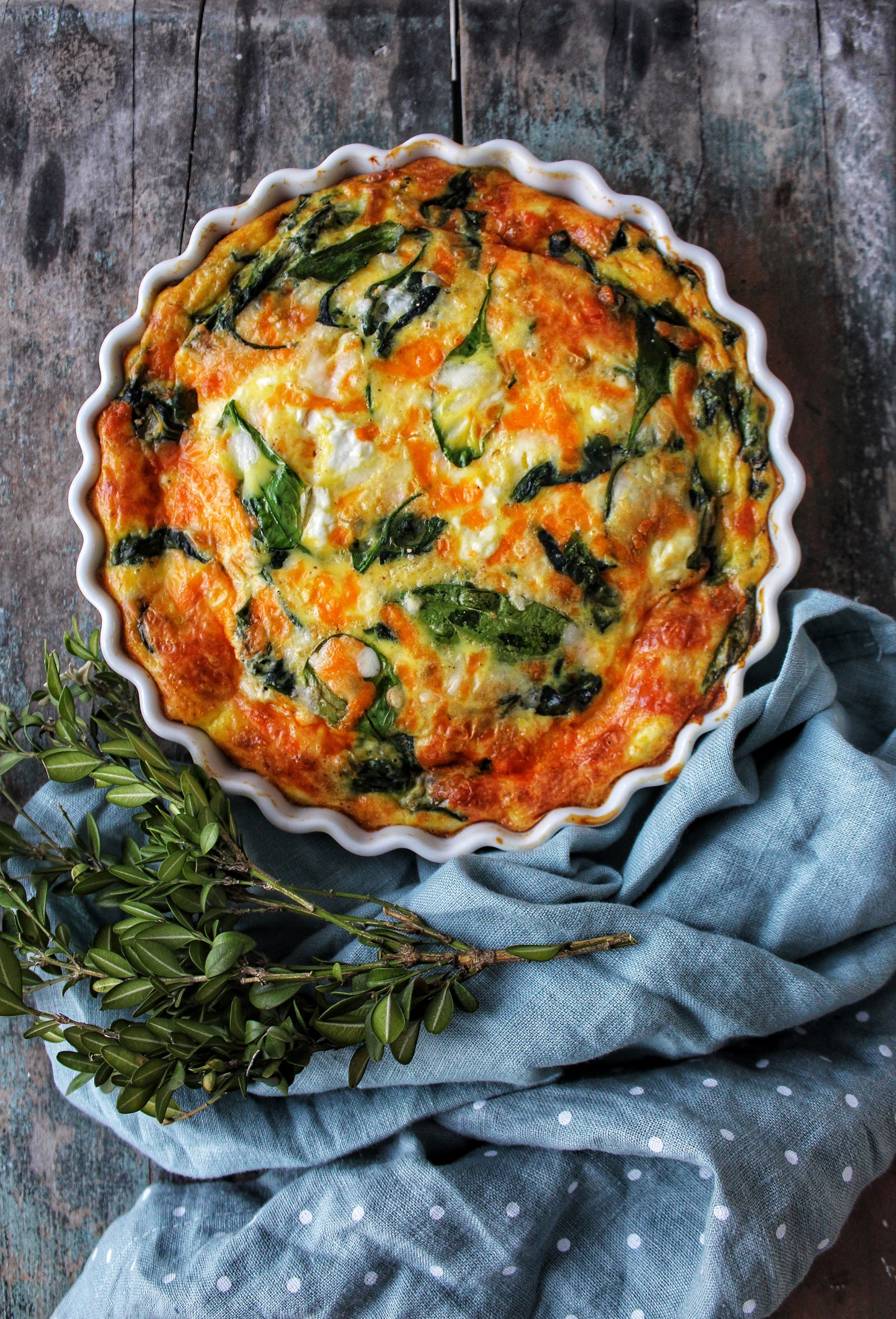 Spinach Cheddar And Feta Crustless Quiche Simply Beautiful Eating